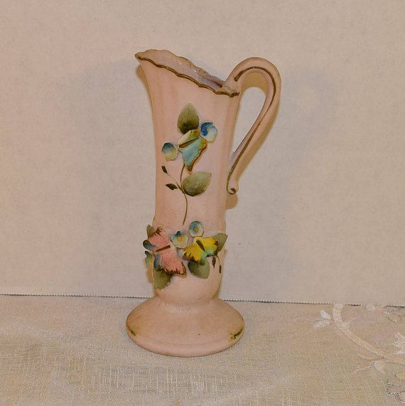 Butterfly Porcelain Pitcher Vintage Pink Decorative Pitcher