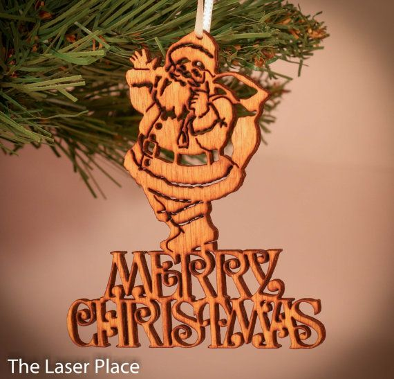 Merry Christmas Santa Laser Cut Ornament by TheLaserPlace on Etsy