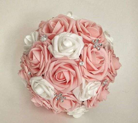 Quinceanera Bouquet Blush Pink Rose Bouquet Pink And White Flowers Blush Artificial Roses Birthday Pa Pink Rose Bouquet Quinceanera Bouquet Blush Pink Rose