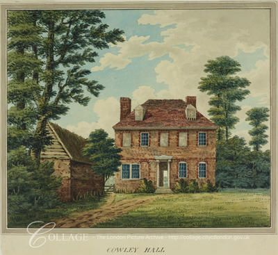 View of Cowley Hall, Cowley in Middlesex; Cowley is now in the London borough of Hillingdon.    c1800