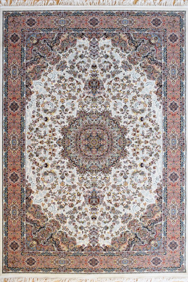 """PersicoTraditional Medallion Rugs  802001 Cream This beguiling design has us """"BLUSHING"""" with excitement.   Our Persico rug is inspired by 'Persepolis' and the rich cultural heritage of Persians. It's power loomed at 3,000,000 points per sqm (so extremely dense) with hand knotted fringes this exquisite product is the highest and finest quality woven rug we've ever had."""