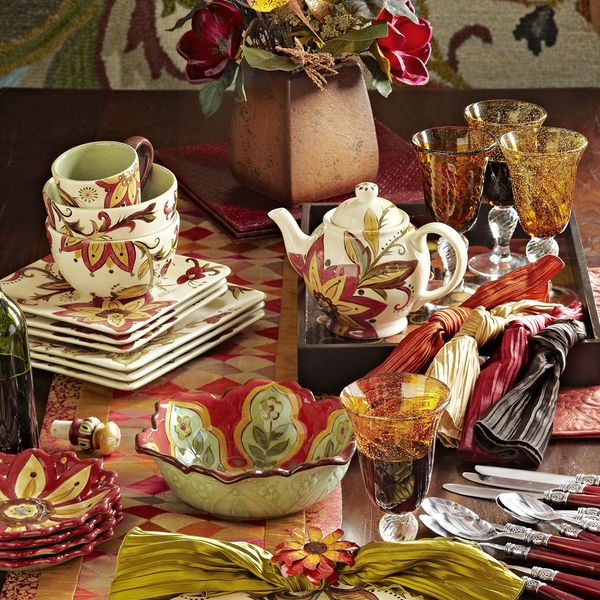Pier 1 Carynthum Dinnerware and Serveware perk up the table with colorful blooms  Pretty!