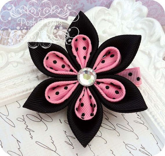 Black and Pink Swiss Kanzashi Flower Hair Clip