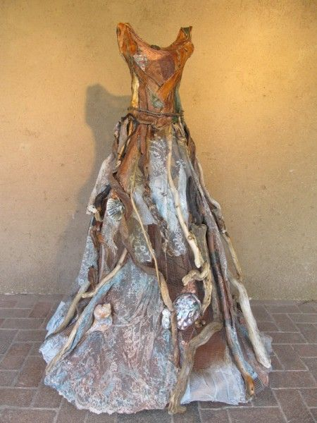 Acquaintance of Kelp Forests, kelp, driftwood, vintage silk and lace, 56x41x41 by Christina Chalmers