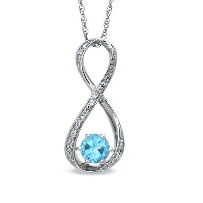 5 5mm blue topaz and accent infinity pendant in