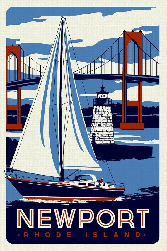 Newport Rhode Island Sailboat Lighthouse Retro Vintage nautical Screen Print poster by RetroScreenprints