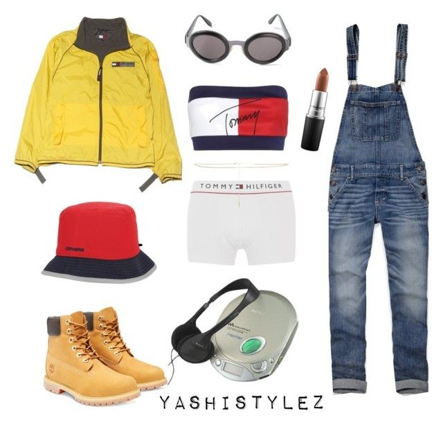 """""""90s Style - Aaliyah"""" by yashistylez on Polyvore featuring Tommy Hilfiger, Abercrombie & Fitch, Christian Dior, Converse, Sony, Timberland, ASOS, MAC Cosmetics, women's clothing and women's fashion"""