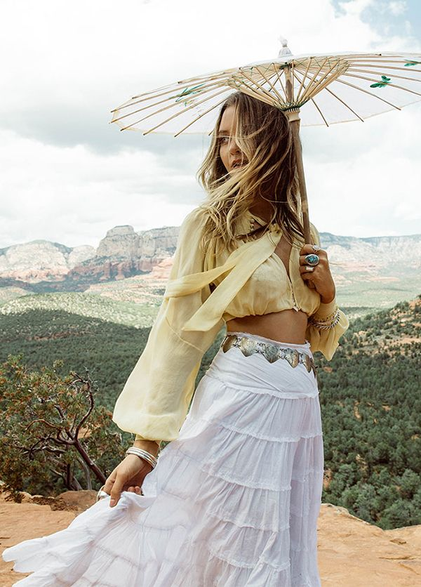 Co-designed by musician Zella Day, this white western-style skirt is inspired by a treasured piece from Zella's own vintage collection. We love the way Zella styles it with a silver concho belt and a