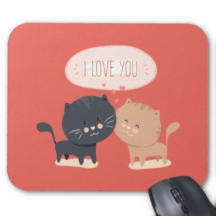 Simple Romantic Cats In Love | Mousepad | Zazzle.com