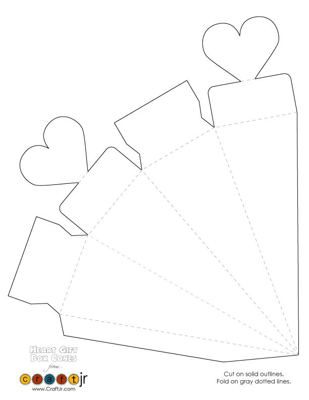 Wedding Favor & Valentine's Day Heart Gift Box Cones Heart Favor Box / Cone Template – Craft Jr.