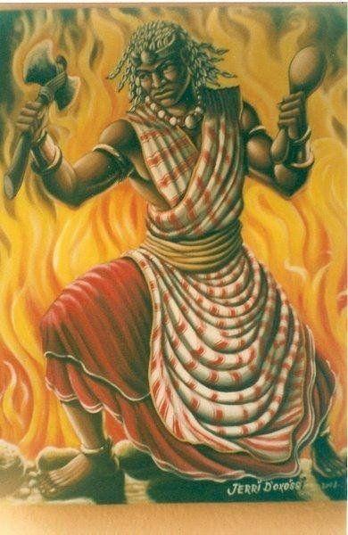 Ṣàngó  : atrevido e viril,  deus do fogo, dos raios dos trovões e da justiça, castigando os mentirosos e os ladrões. Filho de Oranian com Iemanjá, toma três deusas como esposas: Oyá, Osun e Obá. Representa também a masculinidade e a sexualidade masculina. Na santeria (religião cubana derivada do yorubá, como o nosso candomblé) houve sincretismo de Ṣàngó - Xangô com Santo Antônio.
