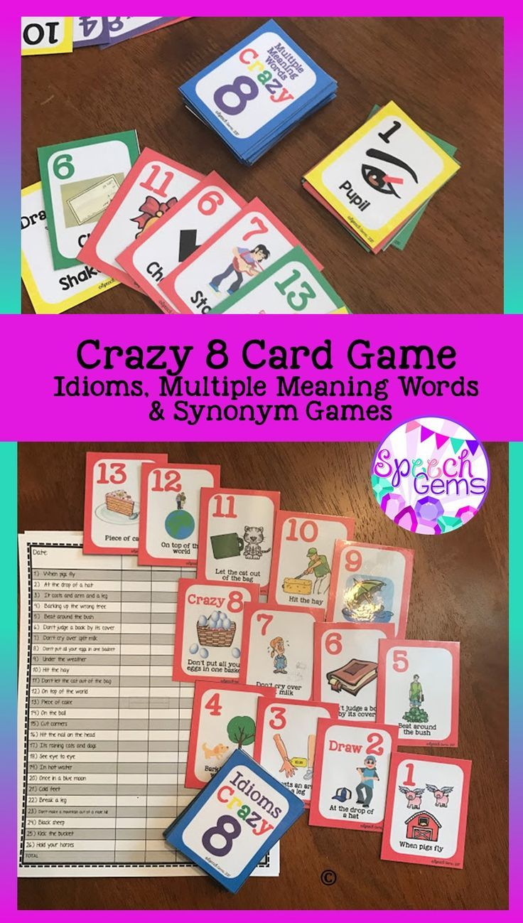 Play Crazy 8 Vocabulary Card Games. Target multiple meaning words, idioms, and synonyms while playing a crazy 8 card matching game.