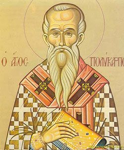 St. Polycarp - Feast day 23 Febr. He was admired the disciples, & he was the disciple of St John of Evangelist. He was a holy man & bishop of Smyrna. St Ignatius of Antioch told that his mind was grounded in God as on a immovable rock. Even people demand him to attack by wild animals in the arena, he was calm. He spent time in prayer for people he knew & the Church. He gave himself to the proconsul&stayed in his faith that he was a Christian.