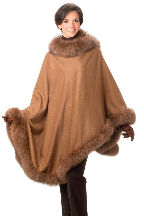 Fur Trimmed Cashmere Capes, Alpaca Capes & Scarves | Canadian Fur ...