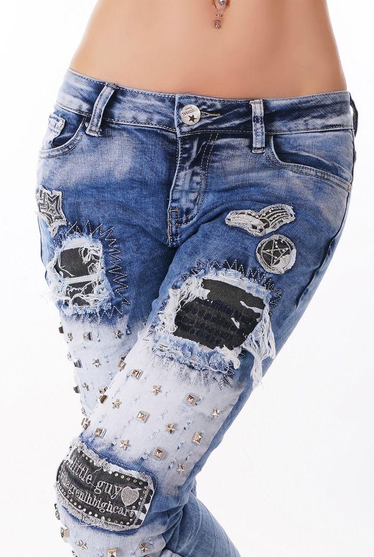 Dámské zdobené džíny s nýty