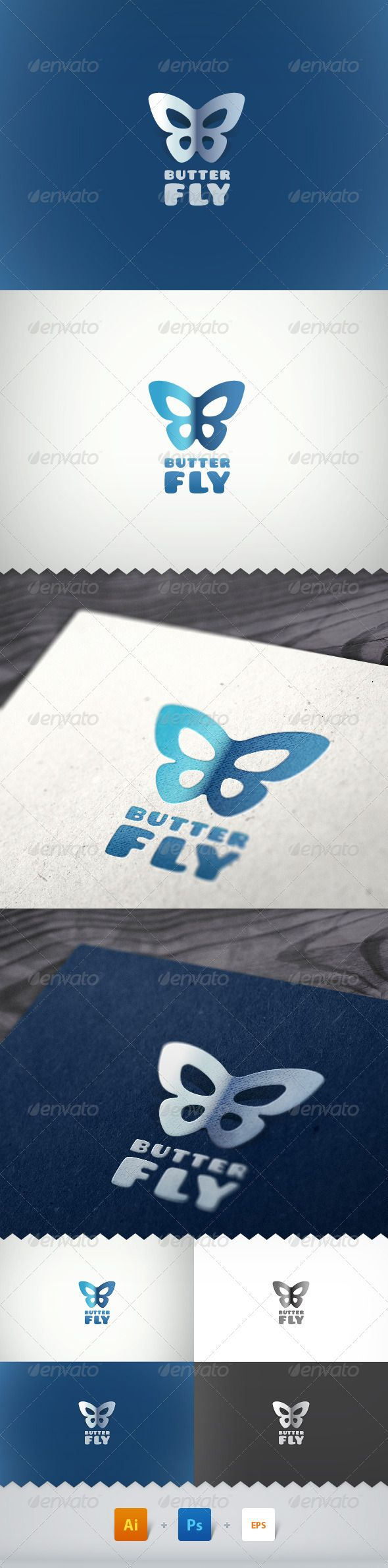 Logotype butterfly and letter b in different colour variants on a - Butterfly Simple Logo