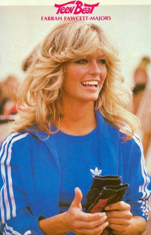 farrah......my hairs style for many many years!   LOL  Only mine was black hair/