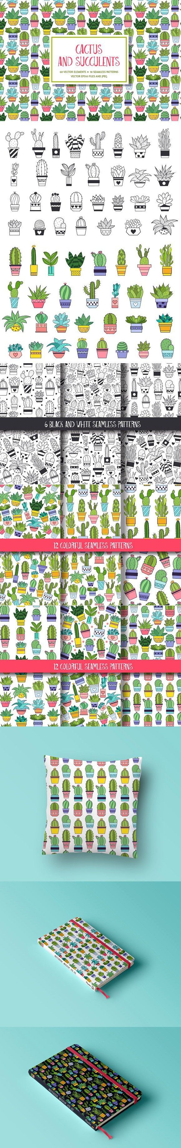 Succulent and Cactus Floral clipart. Wedding Card Templates