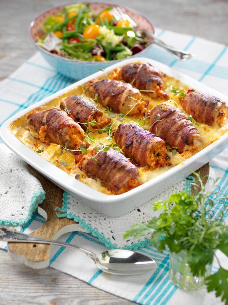 KycklingRullader på PotatisGratäng. Chicken Roulades on Potato Gratin. Translate from Swedish