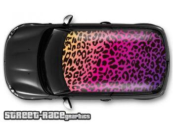 Leopard print - laminated air release vinyl car roof print