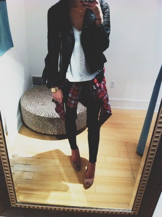 Flannel and leather