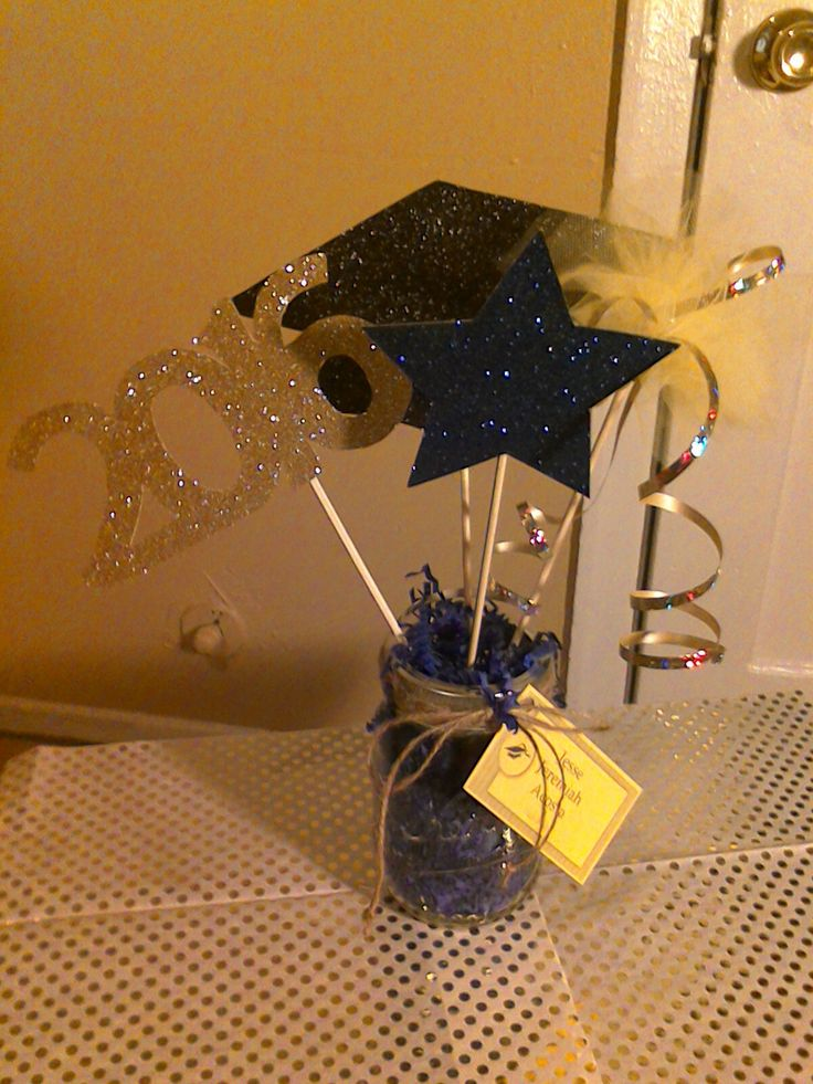 Graduation centerpiece for graduation party. #graduation #partydecor #2016