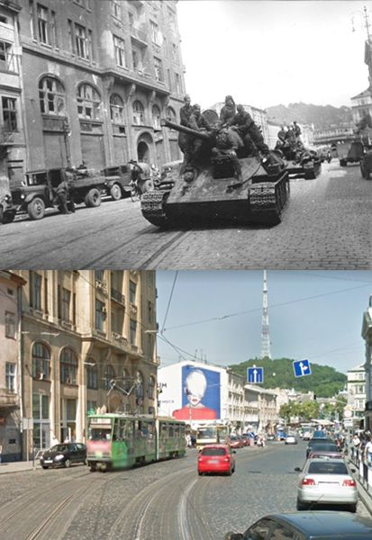 Then and Now WWII. The Soviet Lviv-Sandomierz Strategic Offensive Operation was launched in mid-July 1944, the Red Army achieved its set objectives by the end of August. T-34/85's on the streets of Lviv.