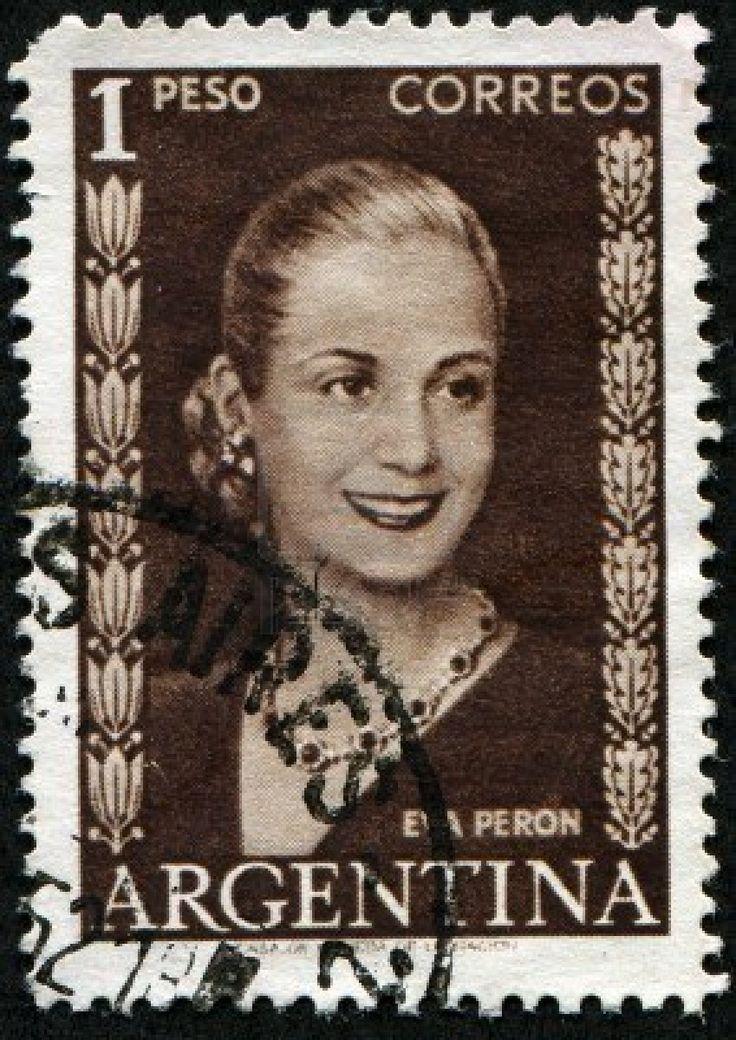 Eva Peron, 1 Peso Stamp Circa 1948.