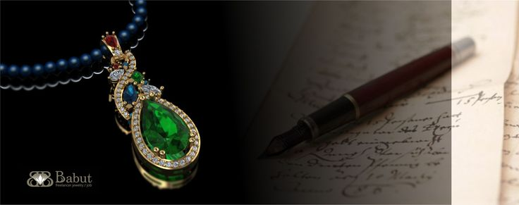 Presentation pendant - made in 18k gold with diamonds, emeralds, rubies and sapphires