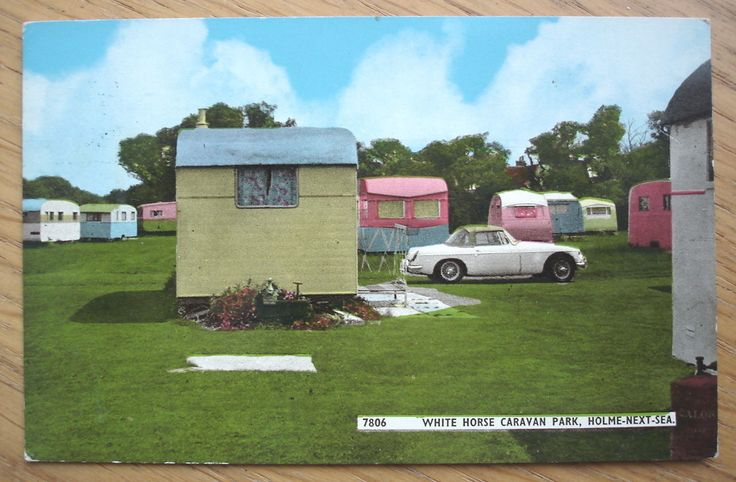 1 of 2: White Horse Caravan Park, Holme-Next-Sea. 1960s postcard