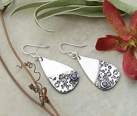 Artisan Handmade Fine Silver Textured Teardrop Earrings