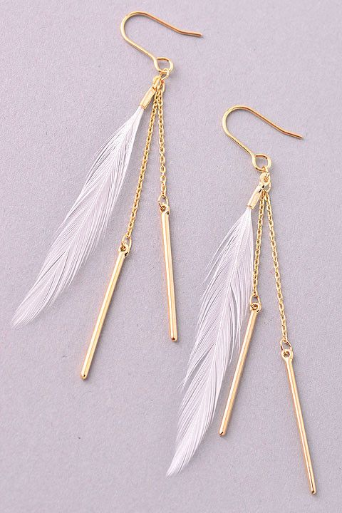 Lucky Feather Earrings! #earrings #gold #dangle #feather #jewelry #boho #gypsyoutfitters