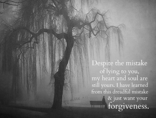 It's all I ask....that you can forgive me and understand that my love for you is real and true. Words cannot express the agony and pain that I feel for losing your trust and hurting you in the ways that I did. The happiest times of my life were spent with you. Please forgive me. Please.
