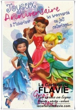 Cartes anniversaire Fée Clochette, à retrouver ici: http://lacarteriedeflavie.com/