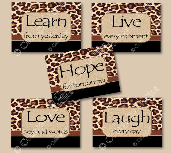 Leopard Cheetah Prints Wall Art Decor by collagebycollins on Etsy, Leopard Cheetah Prints   Wall Art Decor   Quotes Girl Teen Bedroom Dorm Nursery  Inspirational Motivational   live laugh love hope learn