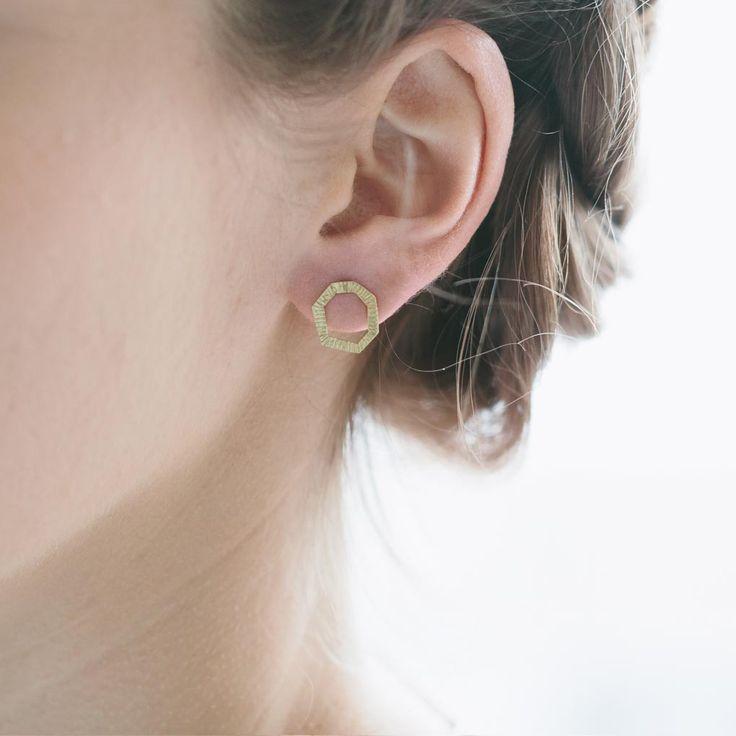 Hexagon earring studs, 14K gold $220