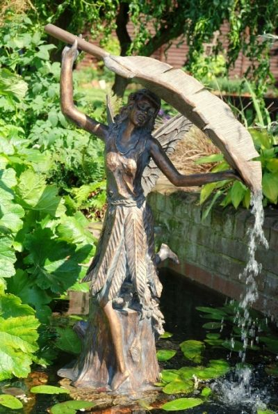 Fairy water feature garden ornament sculpture fairy for Garden pond ornaments uk