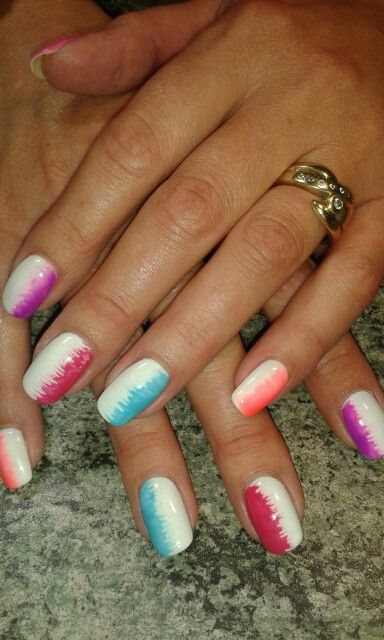 WHITE#love these nails# coulor of the rainbow