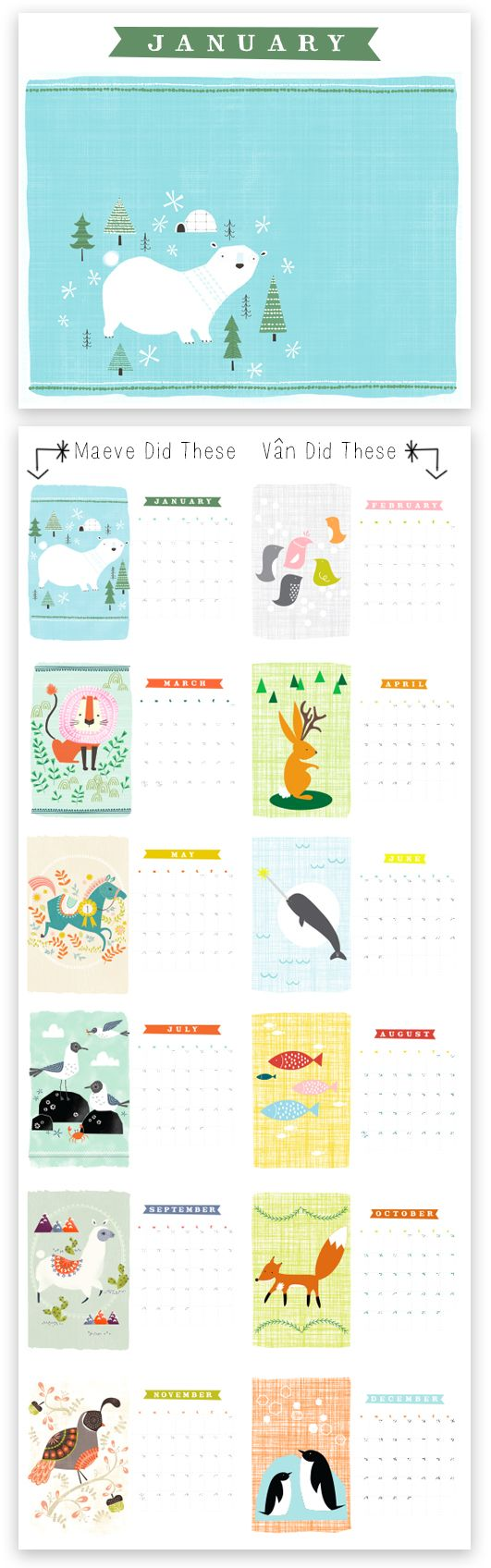 2014 Calendar by Maeve Parker and Vân Tran of http://rhymeswithfun.blogspot.com/ You can visit Maeve's blog to download a free printable version and free desktop wallpapers! www.maeveparker.com