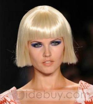 手間のかからないヘアスタイル ショートストレート プラチナブロンド 6インチ 自然ウィッグ