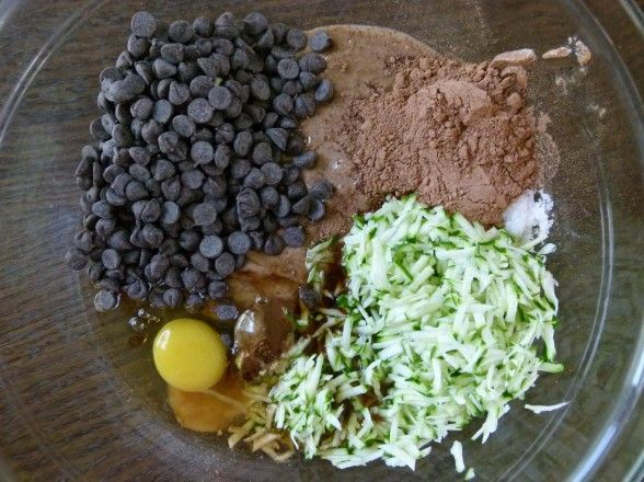 All the ingredients -- one bowl Flourless choc. cake with... zucchini!