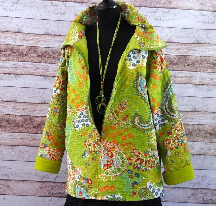 Pull tunique femme vert anis et multicolore en coton gaudri avec col vareuse à zip : Pulls, gilets par akkacreation