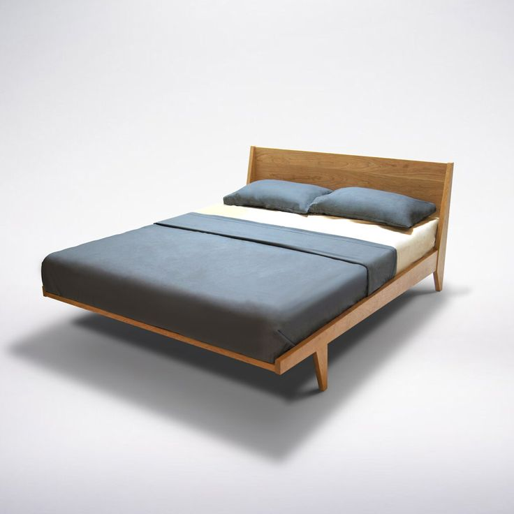 Modern Platform Bed Cherry Mid Century Danish Solid Wood Twin Full Double Queen King Organic