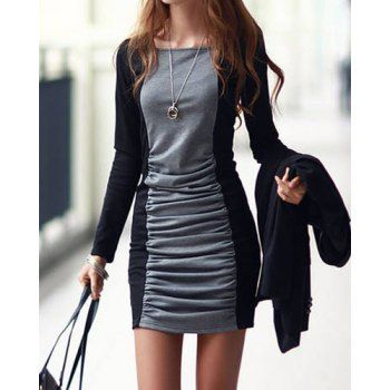 $8.58 Casual Square Neck Long Sleeves Color Splicing Pleated Dress For Women