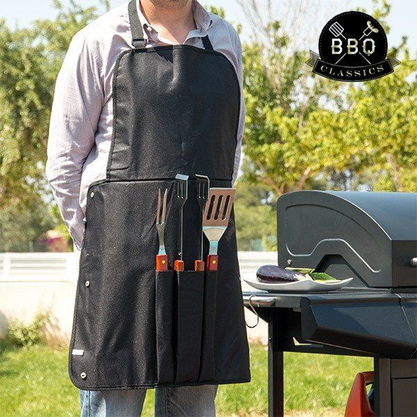 BBQ CLASSICS BARBECUE UTENSILS AND APRON - Geeks Buy Gadgets