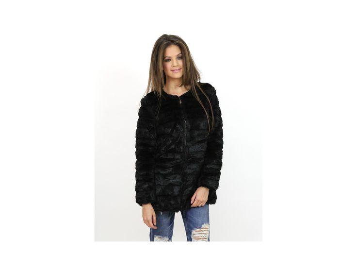 Palton Blană Artificială cu Fermoar - Jachete & Paltoane - www.famevogue.ro  #palton #blana #moda #coat #fauxfur #trends #style #fashion