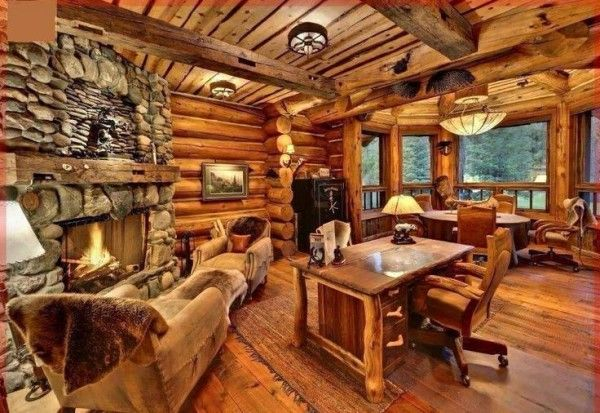Interior of Log Homes with Large River Rock Tile for Custom Fireplace Surrounds Across Rustic Wood Office Desk Above Natural Fiber Area Rugs also Cabin House Designs Log Homes Interiors Log Small Bedroom