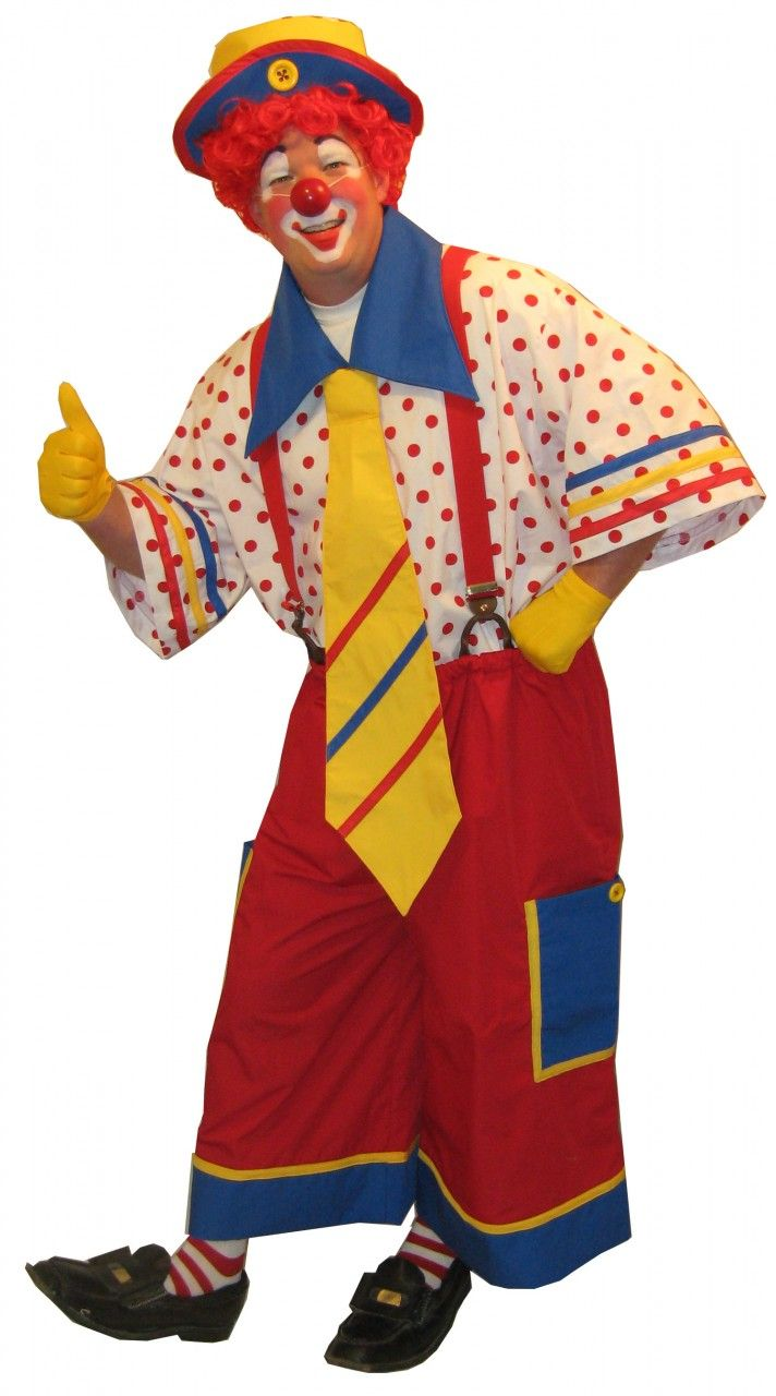 Clown Costume Uses Solid On Bottom, Pattern On Top