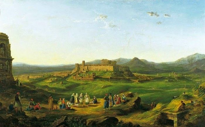 Richard Banks Harraden, 1828, Η Ακρόπολη από τον λόφο των Μουσών, Συλλογή Βουλής των Ελλήνων
