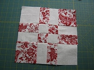 disappearing four patch block. Makes a cute table runner for Valentines or Christmas